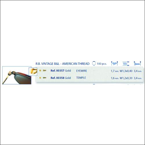 0200357 - Parafuso RB Clássico [RC1,3/CB1,7/CP3,4] Ouro Mod 357 - Contém 100 Peças