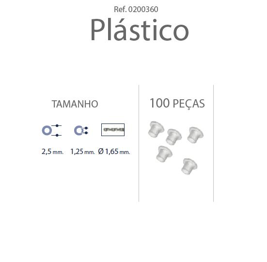 0200360 - Anilha Plástica Cilindrica 2,5x1,25mm Mod 360  -Contém 100 Peças