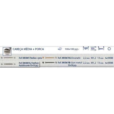 0200361 - Parafuso 02 Griffe Alpaca+Porca [RC1,2/CB2,2/CP13] Níquel Mod 361  -Contém 200 Peças