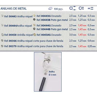 0200366 - Anilha Metal 2,5x1,25x0,60mm Níquel Mod 366 FLAG 9 - Contém 100 Peças