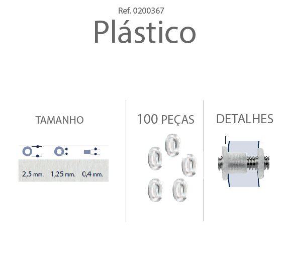 0200367 - Anilha Plástica Plana 2,5x1,25x0,4mm Mod 367 - Contém 100 Peças