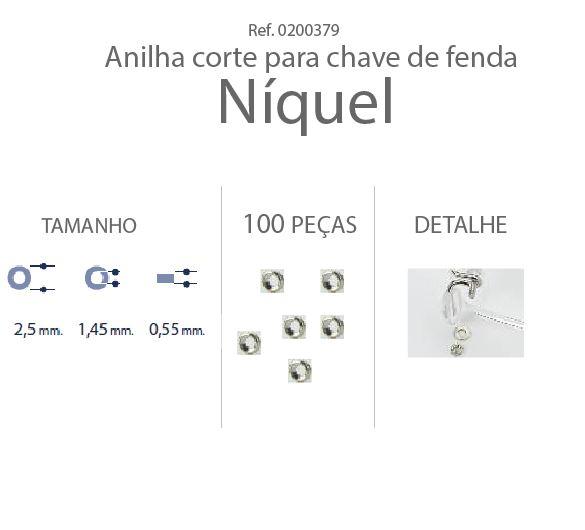 0200379 - Anilha 02 Metal 2,5x1,45x0,55mm Níquel Mod 379 FLAG E  -Contém 100 Peças