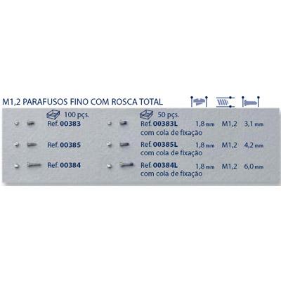 0200384 - Parafuso Aço [RC1,2/CB1,8/CP6,0] Níquel Mod 384 - Contém 100 Peças