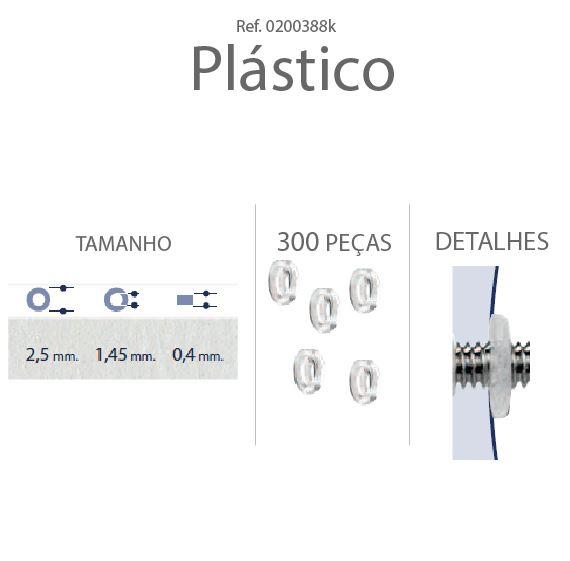 0200388K - Anilha Plástica Plana 2,5x1,45x0,4mm Mod 388K - Contém 300 Peças