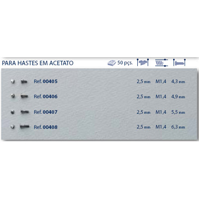 0200406 - Parafuso Autoblock Aço [RC1,4/CB2,5/CP4,9] Níquel Mod 406 FLAG 9  -Contém 50 Peças