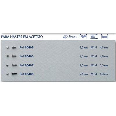 0200408 - Parafuso Autoblock Aço [RC1,4/CB2,5/CP6,3] Níquel Mod 408 FLAG 9 - Contém 50 Peças