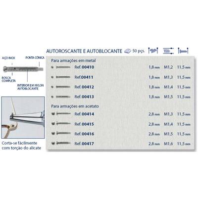 0200414 - Parafuso 02 Autoblock/Roscante [RC1,3/CB2,8/CP11,5] Níquel Mod 414  -Contém 50 Peças