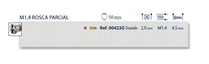0200422G - Parafuso 02 Aço [RC1,4/CB2,0/CP4,5] Ouro Mod 422G FLAG 9  -Contém 50 Peças