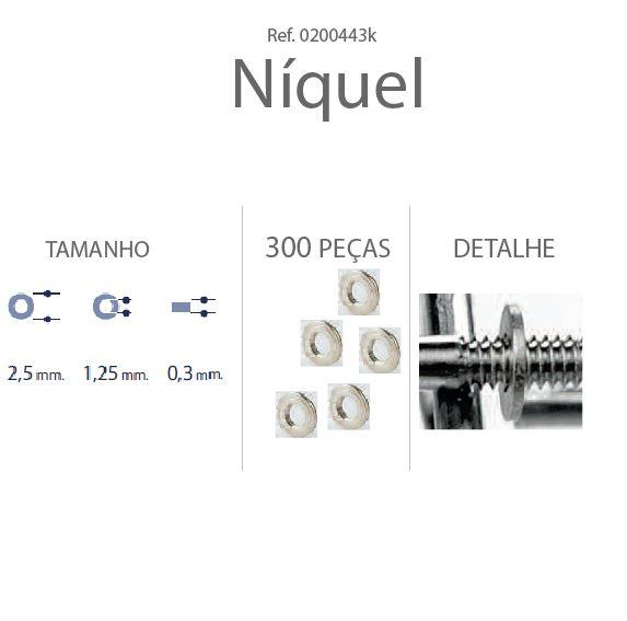 0200443K - Anilha Metal 2,5x1,25x0,30mm Níquel Mod 443K FLAG E - Contém 300 Peças SOB ENCOMENDA
