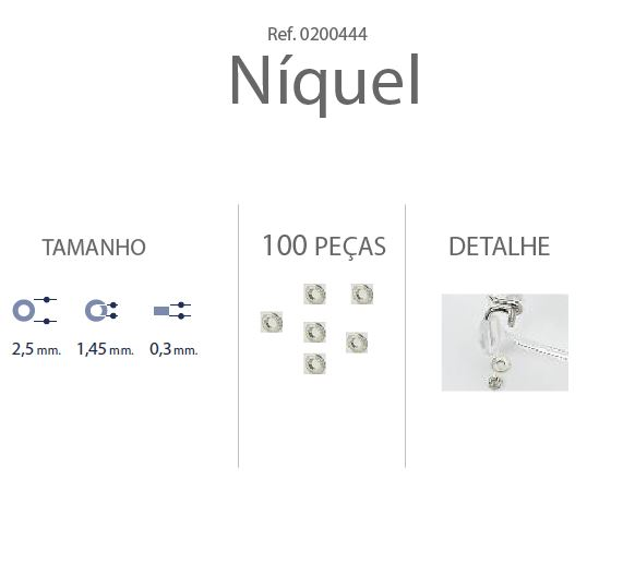 0200444-Anilha Metal 2,5x1,45x0,30mm Níquel Mod 444 - Contém 100 Peças  - ENTREGA IMEDIATA