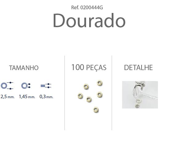 0200444B - Anilha 02 Metal 2,5x1,45x0,30mm GunMetal Mod 444B  -Contém 100 Peças