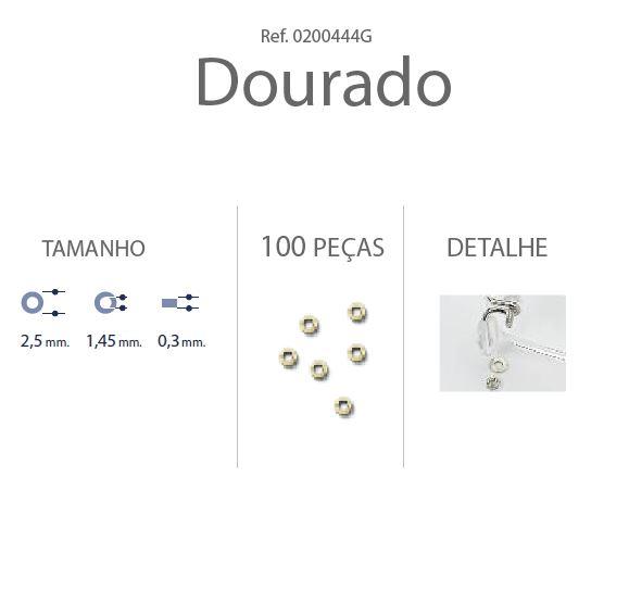 0200444G-Anilha Metal 2,5x1,45x0,30mm Ouro Mod 444G FLAG E - Contém 100 Peças  - SOB ENCOMENDA