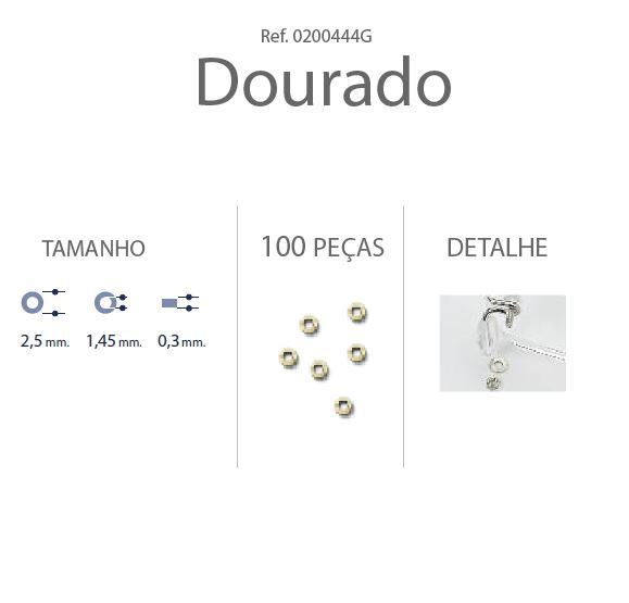 0200444G - Anilha 02 Metal 2,5x1,45x0,30mm Ouro Mod 444G  -Contém 100 Peças