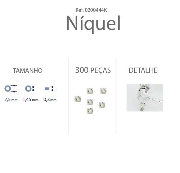 0200444K - Anilha Metal 2,5x1,45x0,30mm Níquel Mod 444K - Contém 300 Peças