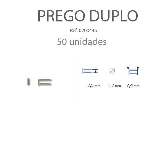 0200445 - Prego Duplo Metal D=1,2mmx7,4mm Mod 445 FLAG E - Contém 50 Peças SOB ENCOMENDA