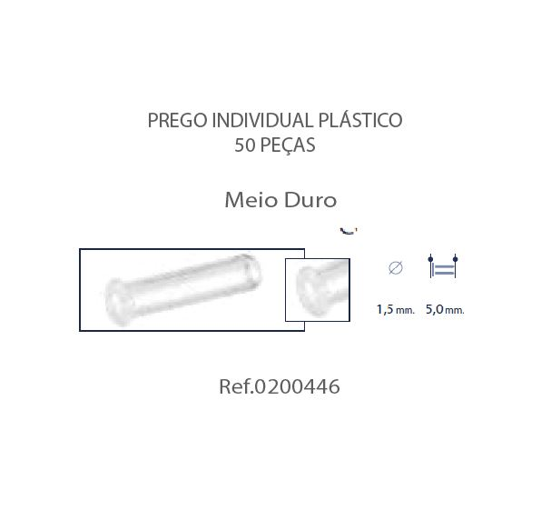 0200446 - Prego 02 Simples Plástico D=1,5mmx5,0mm Mod 446  -Contém 50 Peças