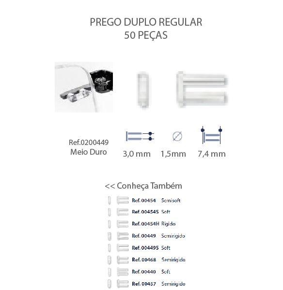 0200449 - Prego 02 Duplo Plástico D=1,5mmx7,4mm Mod 449  -Contém 50 Peças