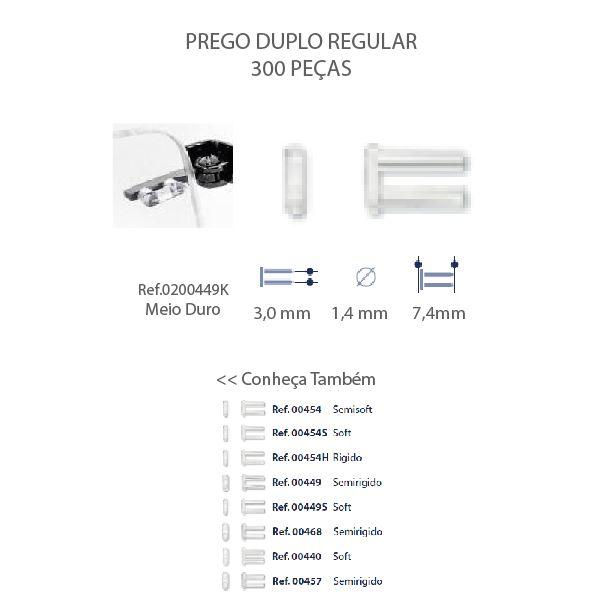 0200449K - Prego Duplo Plástico D=1,5mmx7,4mm Mod 449K FLAG E - Contém 300 Peças SOB ENCOMENDA