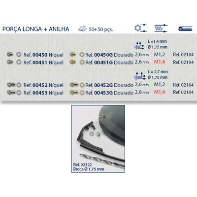 0200452 - Porca Estrela Cega Longa M1,2x2,6x2,7mm Mod 452 - Contém 100 Peças