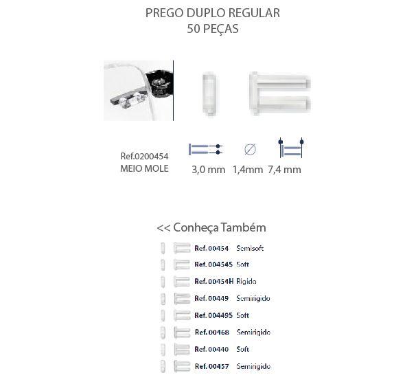 0200454H - Prego Duplo Plástico D=1,4mmx7,2mm Rigido Mod 454H FLAG E - Contém 50 Peças SOB ENCOMENDA