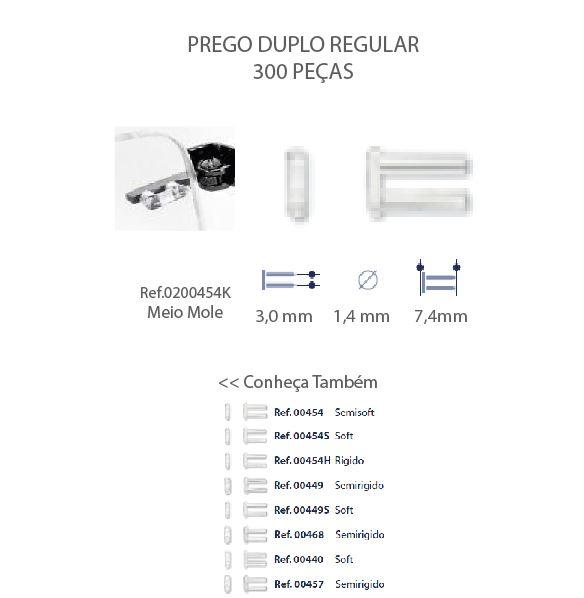 0200454K - Prego Duplo Plástico D=1,4mmx7,4mm Mod 454K - Contém 300 Peças