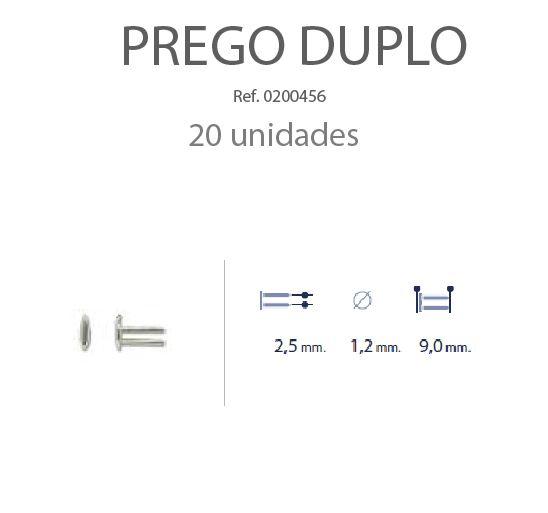 0200456 - Prego Duplo Metal D=1,2mmx9,0mm Embelezador B.L. Mod 456 FLAG E  -Contém 20 Peças