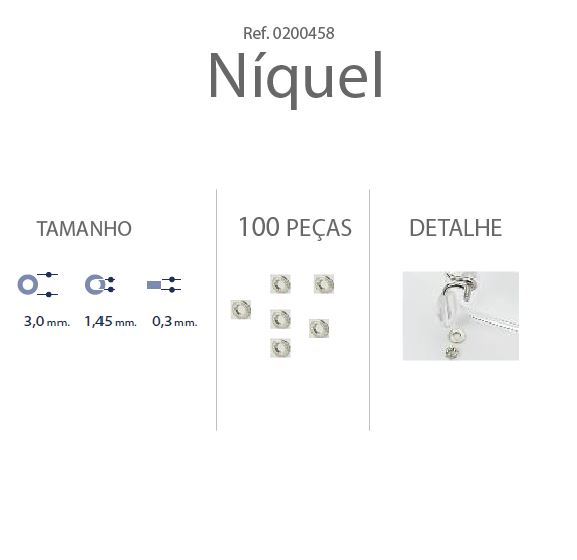 0200458-Anilha Metal 3,0x1,45x0,30mm Níquel Mod 458 - Contém 100 Peças  - ENTREGA IMEDIATA
