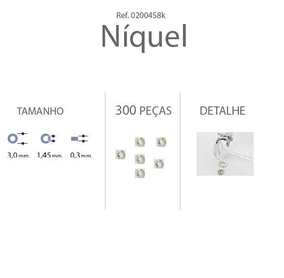 0200458K - Anilha 02 Metal 3,0x1,45x0,30mm Niquel Mod 458K  -Contém 300 Peças
