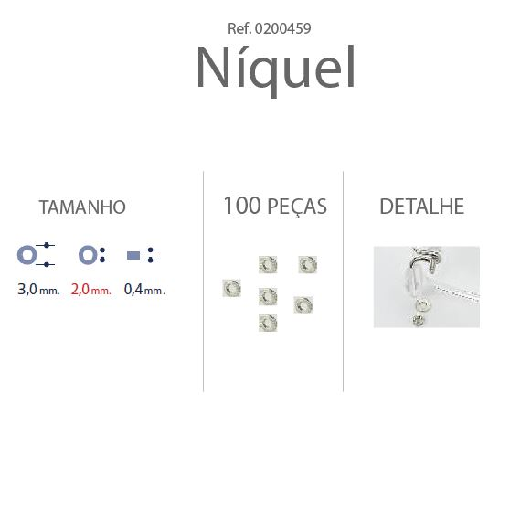 0200459 - Anilha Metal 3,0x2,00x0,40mm Niquel Mod 459 - Contém 100 Peças
