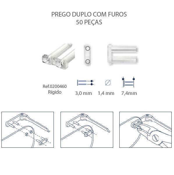 0200460K - Prego 02 Duplo Plástico D=1,4mmx7,4mm Rigido FuroPassante Mod 460K  -Contém 300 Peças