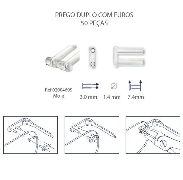 0200460S - Prego 02 Duplo Plástico D=1,4mmx7,4mm Soft FuroPassante Mod 460S  -Contém 50 Peças
