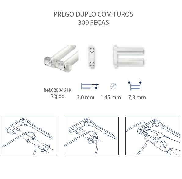 0200461K - Prego 02 Duplo Plástico D=1,45mmx7,8mm Rigido FuroPass Mod 461K  -Contém 300 Peças