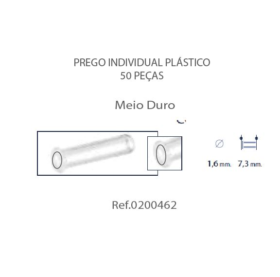 0200462 - Prego Simples Plástico D=1,6mmx7,3mm FuroPassante Mod 462 - Contém 50 Peças