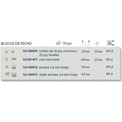 0200471 - Charneira Bloco de Fecho Rosca Total Mod 471 FLAG 9 - Contém 50 Peças