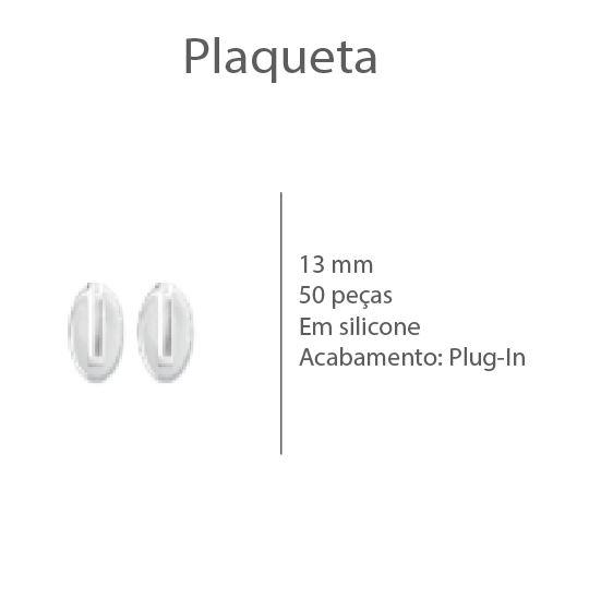 0200497 - Plaqueta Silicone/Encaixe Plug-In Oval 13mm Mod 497 - Contém 10 Peças
