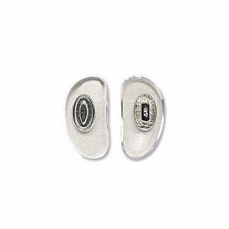 0200586H - Plaqueta PVC/Encaixe D-Shape Cristal/Prata 14,5mm Mod 586H - Contém 100 Peças