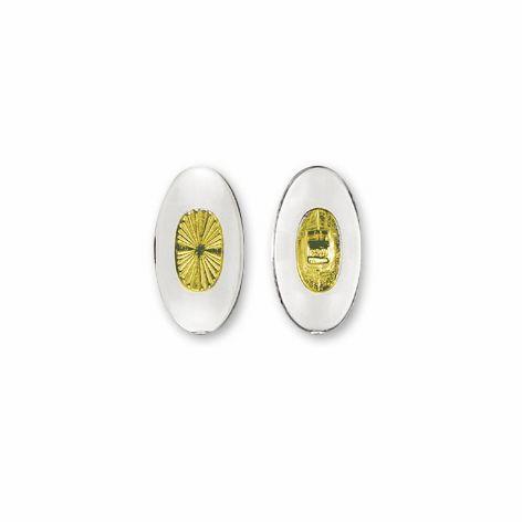 0200587 - Plaqueta 02 PVC/Encaixe Oval Cristal/Ouro 13,0mm Mod 587 FLAG E  -Contém 20 Peças
