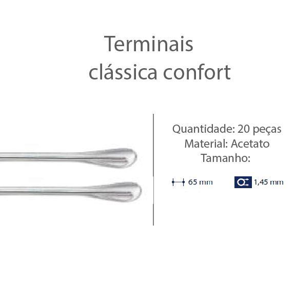 0200600 - Terminal 02 Classico D=1,45mm Acetato Cristal Mod 600  -Contém 20 Peças