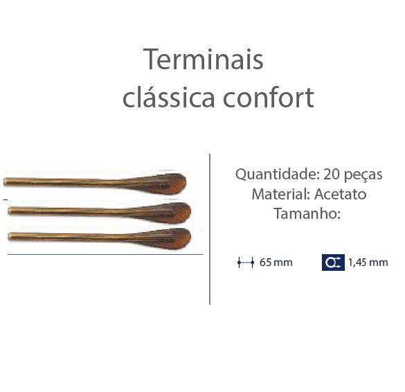 0200606 - Terminal Classico D=1,45mm Acetato Marrom Cl Mod 606 - Contém 20 Peças