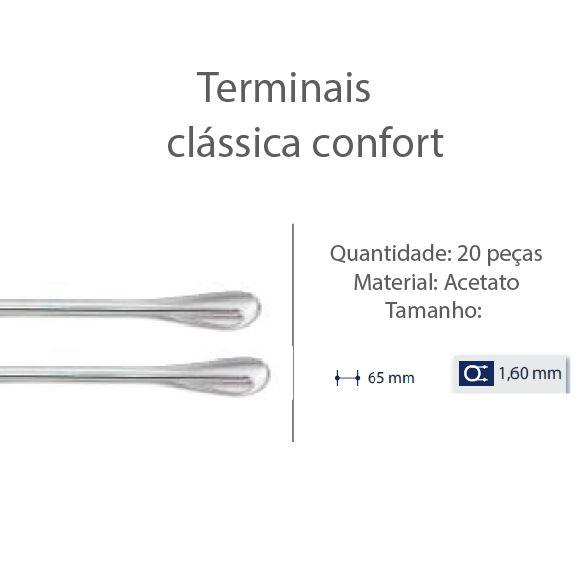 0200610 - Terminal Classico D=1,60mm Acetato Cristal Mod 610 - Contém 20 Peças