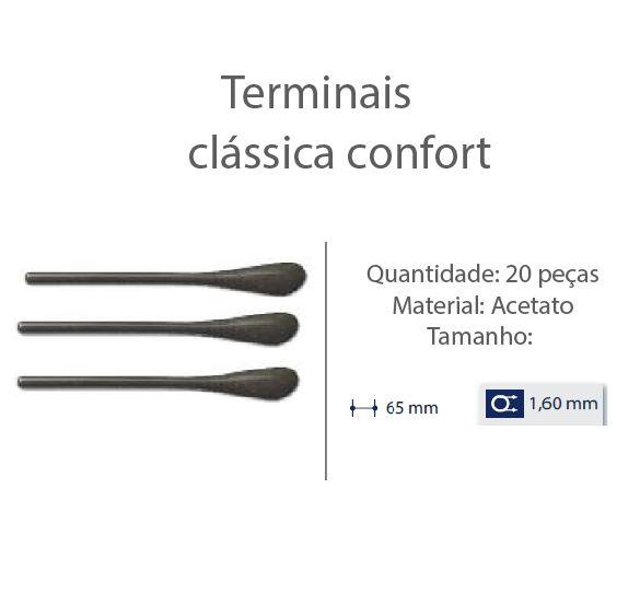 0200613 - Terminal Classico D=1,60mm Acetato Marrom Mod 613 FLAG E - Contém 20 Peças SOB ENCOMENDA