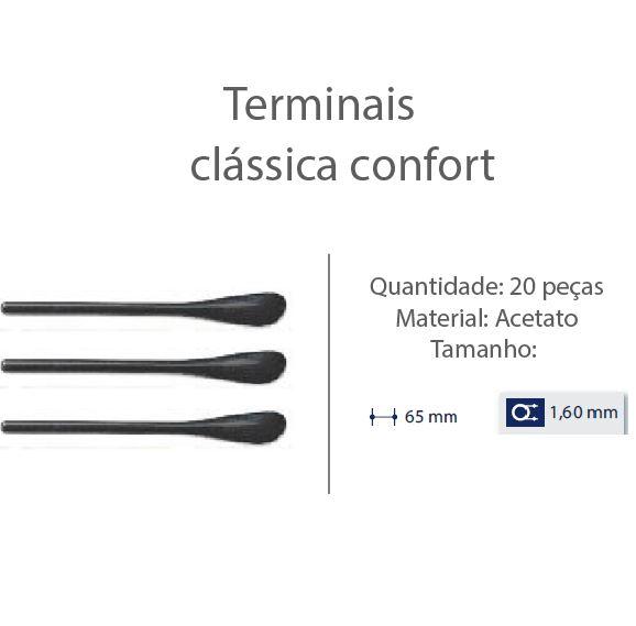 0200615 - Terminal 02 Classico D=1,60mm Acetato Preto Mod 615 FLAG E  -Contém 20 Peças
