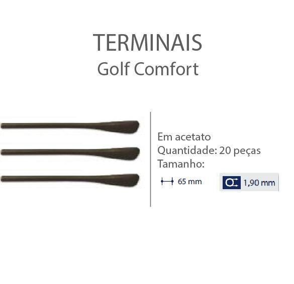 0200616 - Terminal 02 Golf D=1,90mm Acetato Marrom Mod 616 FLAG E  -Contém 20 Peças