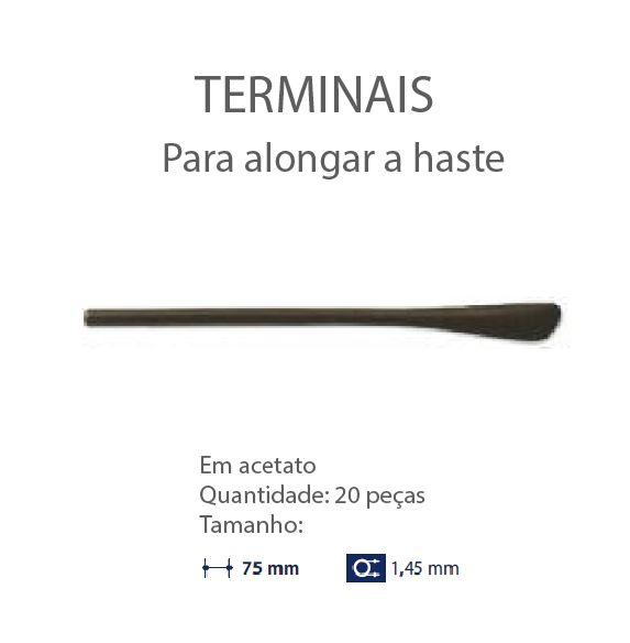 0200618-Terminal Aumentar Haste D=1,45mm Acetato Marrom Mod 618 FLAG E - Contém 20 Peças  - ENTREGA IMEDIATA