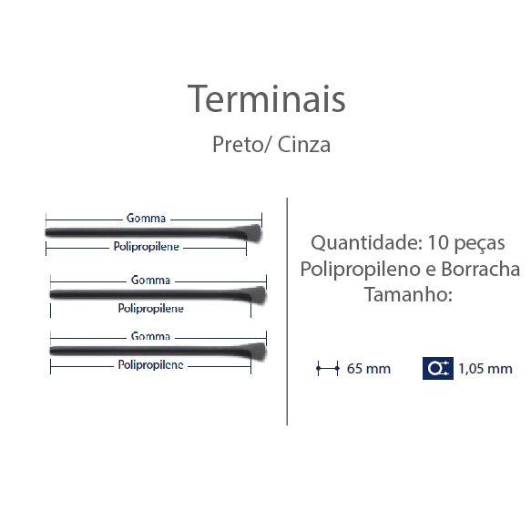 0200622 - Terminal Haste Titanio D=1,05mm Polipropileno Preto Mod 622 FLAG 9 - Contém 10 Peças