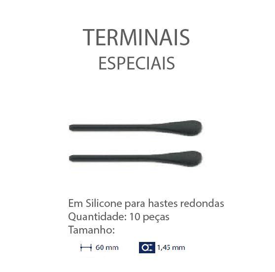 0200636 - Terminal 02 Haste Redonda D=1,45mm Silicone Preto Mod 636 FLAG E  -Contém 10 Peças