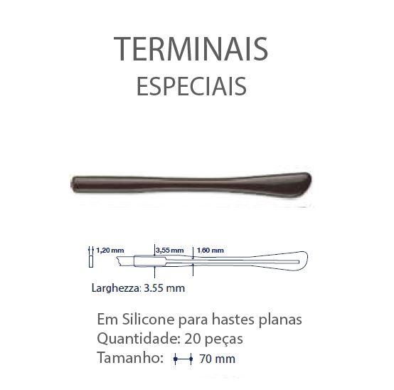 0200642 - Terminal 02 Haste Plana L=3,55mm Acetato Marrom Mod 642  -Contém 20 Peças