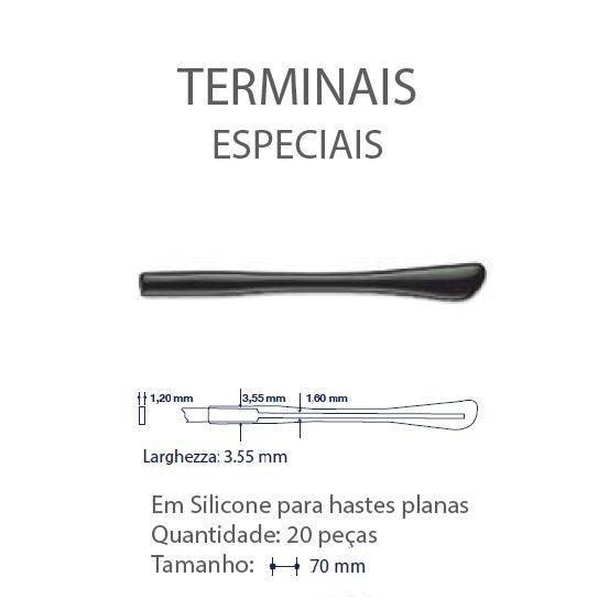0200643 - Terminal 02 Haste Plana L=3,55mm Acetato Preto Mod 643  -Contém 20 Peças