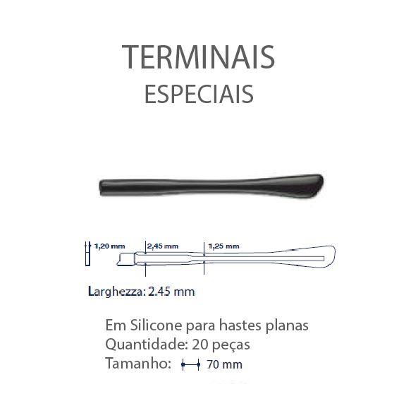 0200645 - Terminal 02 Haste Plana L=2,45mm Acetato Preto Mod 645  -Contém 20 Peças