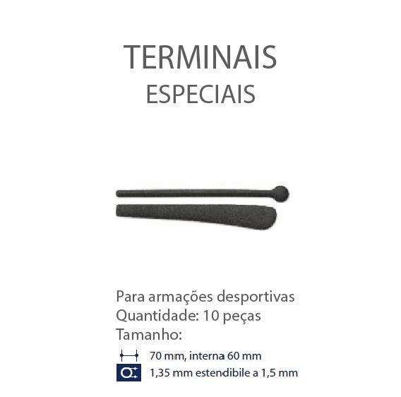 0200646 - Terminal 02 Esportivo Redondo D=1,35mm Goma Preto Mod 646 FLAG E  -Contém 20 Peças
